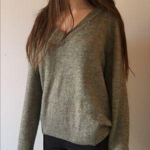 lightish green vneck sweater